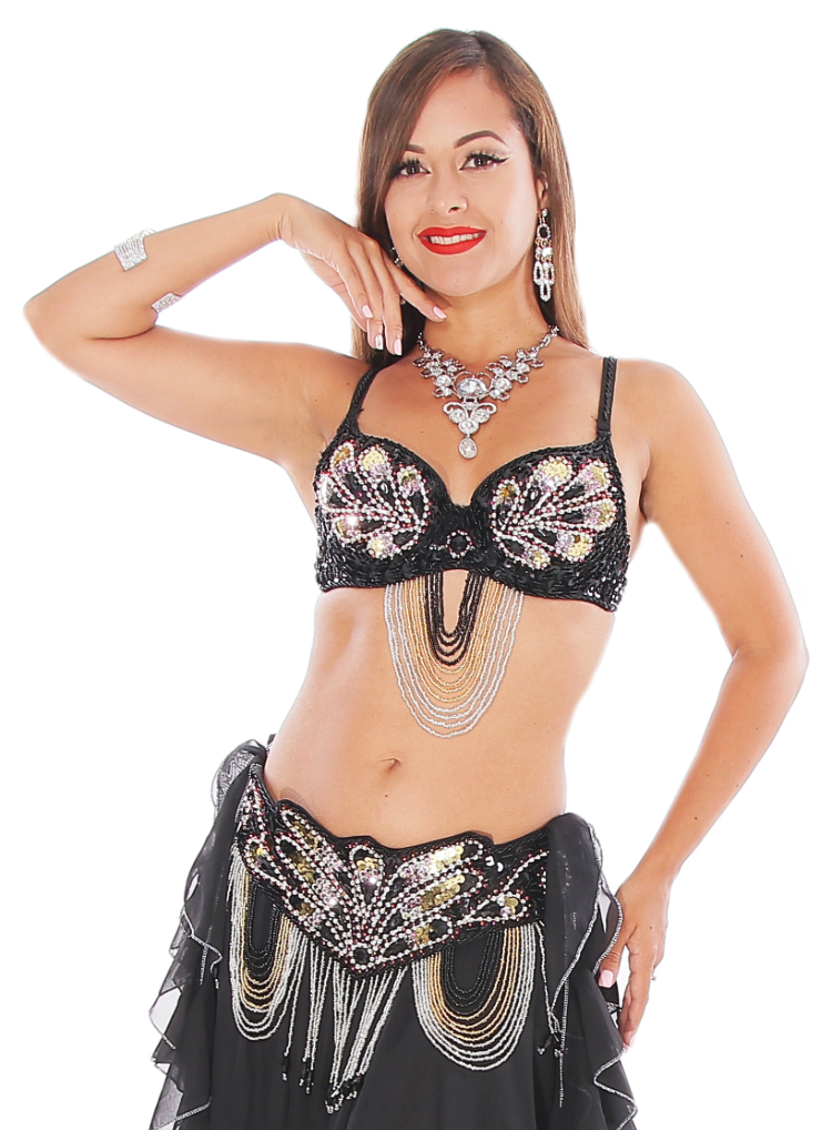Art Deco Costume Set with Beads & Rhinestones - BLACK / FUCHSIA