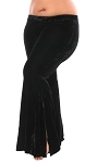 Stretch Velvet Bell-Bottom Tribal Fusion Belly Dance Pants - BLACK