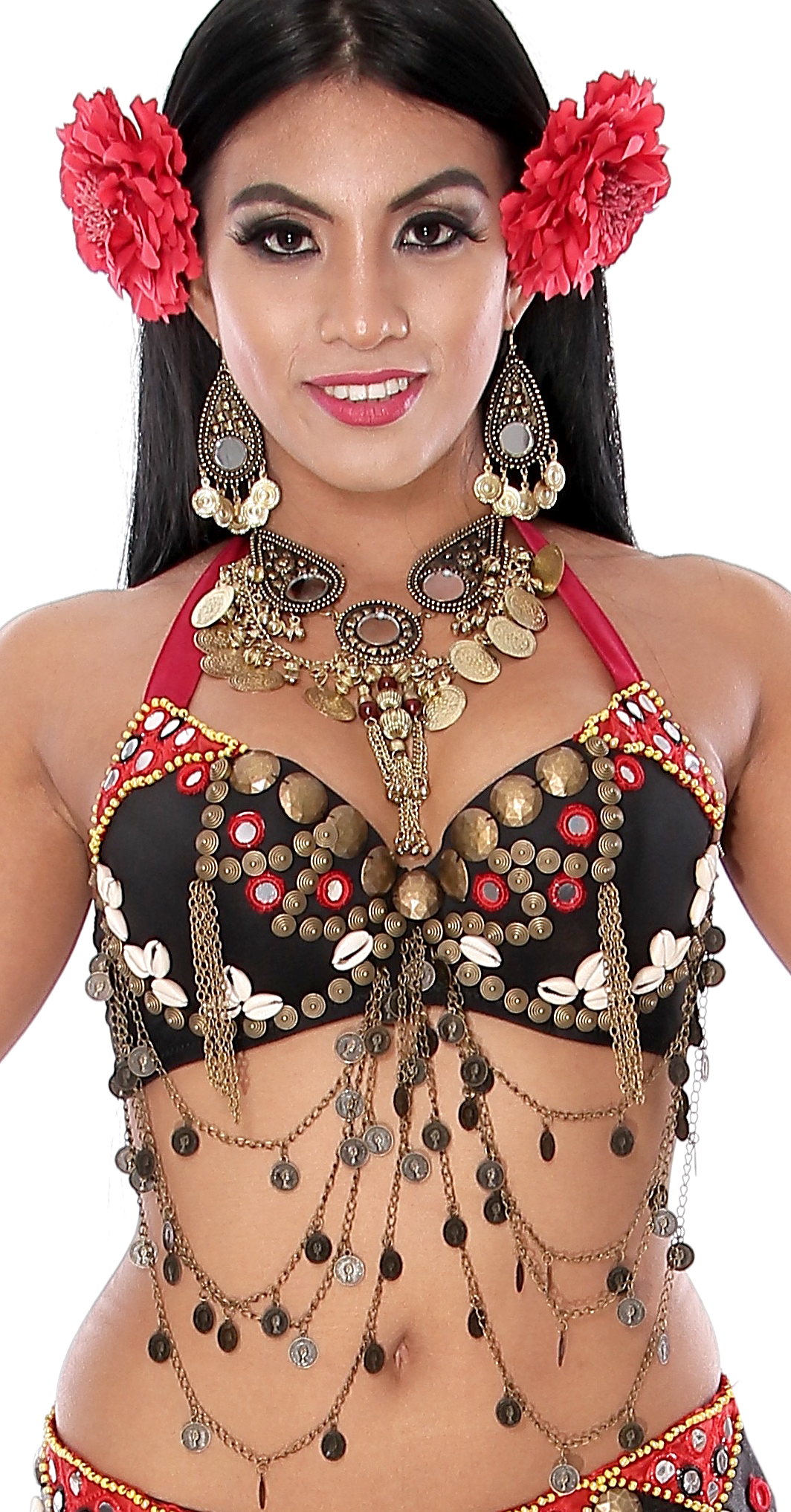 Tribal Belly Dance Bra with Shisha Mirrors, Coins, and Shells