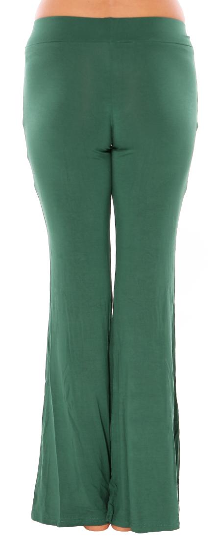 Flared Bottom Yoga Dance Pants In Jade Green