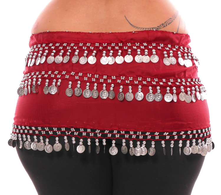 Plus Size 1X - 4X Chiffon Belly Dance Hip Scarf Sash with 3 Rows of Coins - RED ROSE / SILVER