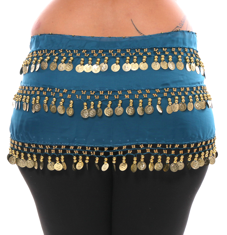 Plus Size 1X - 4X Chiffon Belly Dance Hip Scarf Sash with 3 Rows of Coins - TEAL BLUE / GOLD