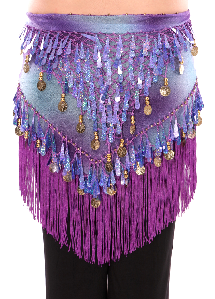 Tie-Dye Triangle Hip Scarf with Teardrop Paillettes, Fringe, & Coins - PURPLE