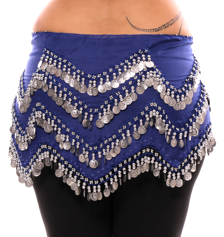 Plus Size 1X - 4X Long Belly Dance Zig-Zag Coin Hip Scarf Skirt - BLUE / SILVER