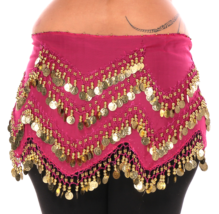 Plus Size 1X - 4X Long Belly Dance Zig-Zag Coin Hip Scarf Skirt - FUCHSIA / GOLD