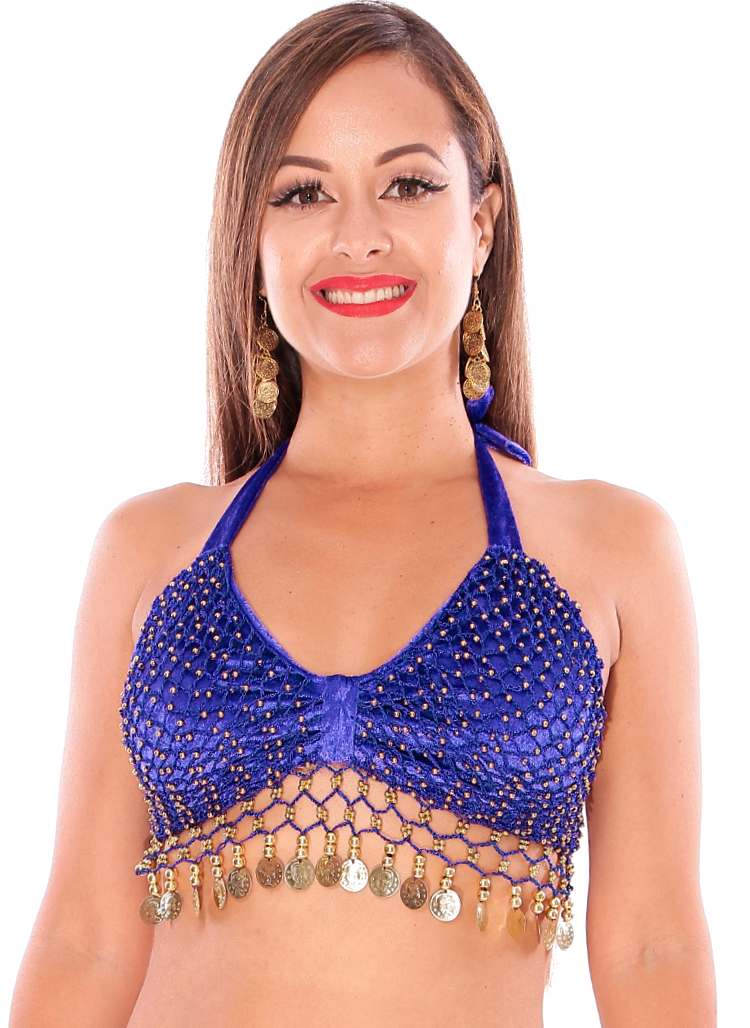 Velvet Belly Dance Costume Top with Beads and Coins - ROYAL BLUE / GOLD