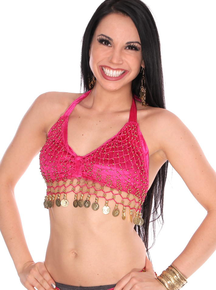 Velvet Belly Dance Costume Top with Beads and Coins - HOT PINK / GOLD