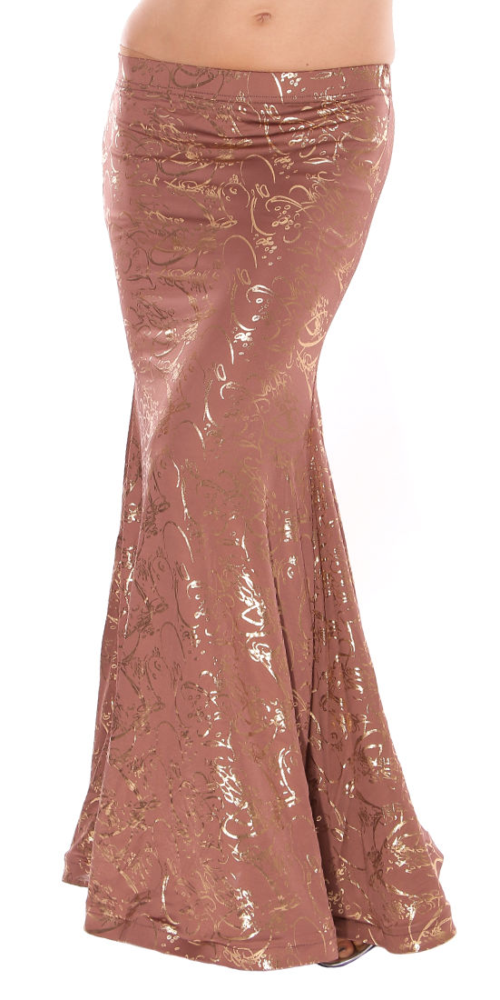 Metallic Mermaid Trumpet Skirt - MOCHA / GOLD