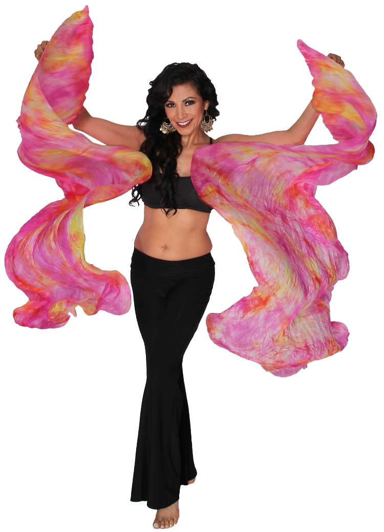 Silk Fan Veils Belly Dance Prop (Set of 2) - Tie Dye - SUMMER BOUQUET