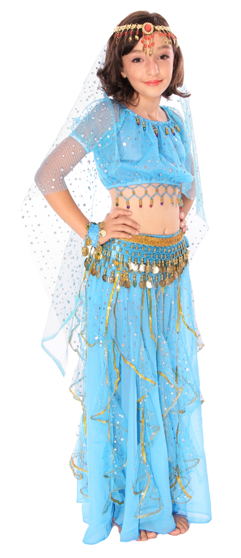 Little Girls Arabian Princess Belly Dance Sparkle Costume - TURQUOISE