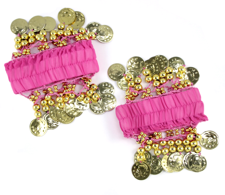 Chiffon Stretch Bracelets with Beads & Coins (PAIR): FUCHSIA / GOLD