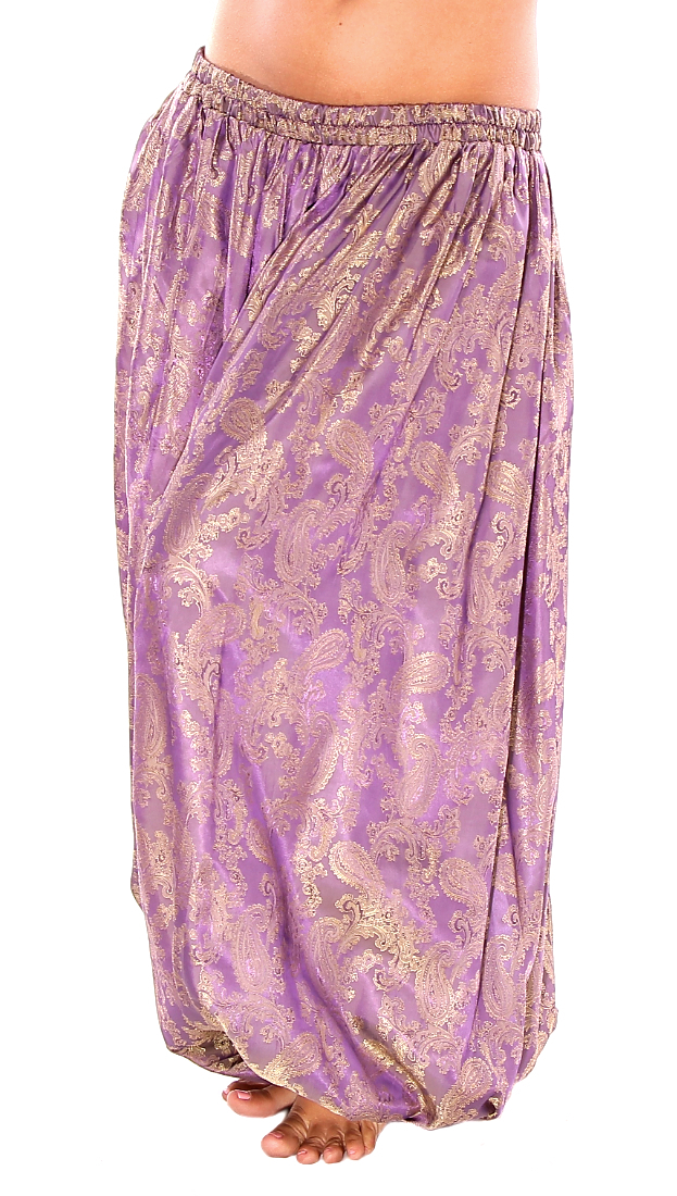 Brocade Full Pantaloons Tribal Harem Pants - ORCHID PURPLE / GOLD