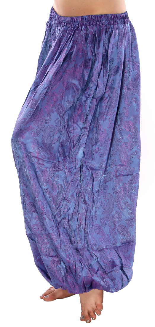 Brocade Full Pantaloons Harem Pants - PURPLE / BLUE