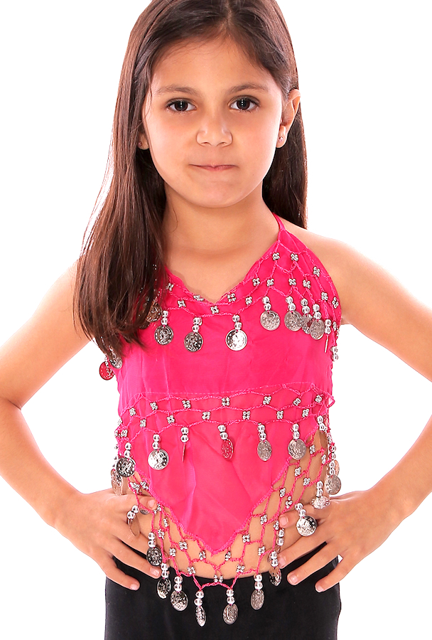 Little Girl's Chiffon Belly Dance Costume Halter Top with Coins - ROSE PINK / SILVER