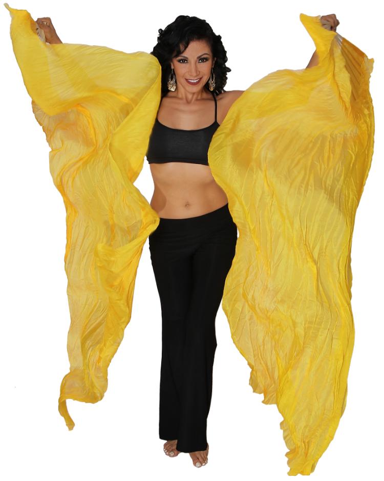 Dark Gold Silk Fan Veils Dance Prop at Bellydance.com