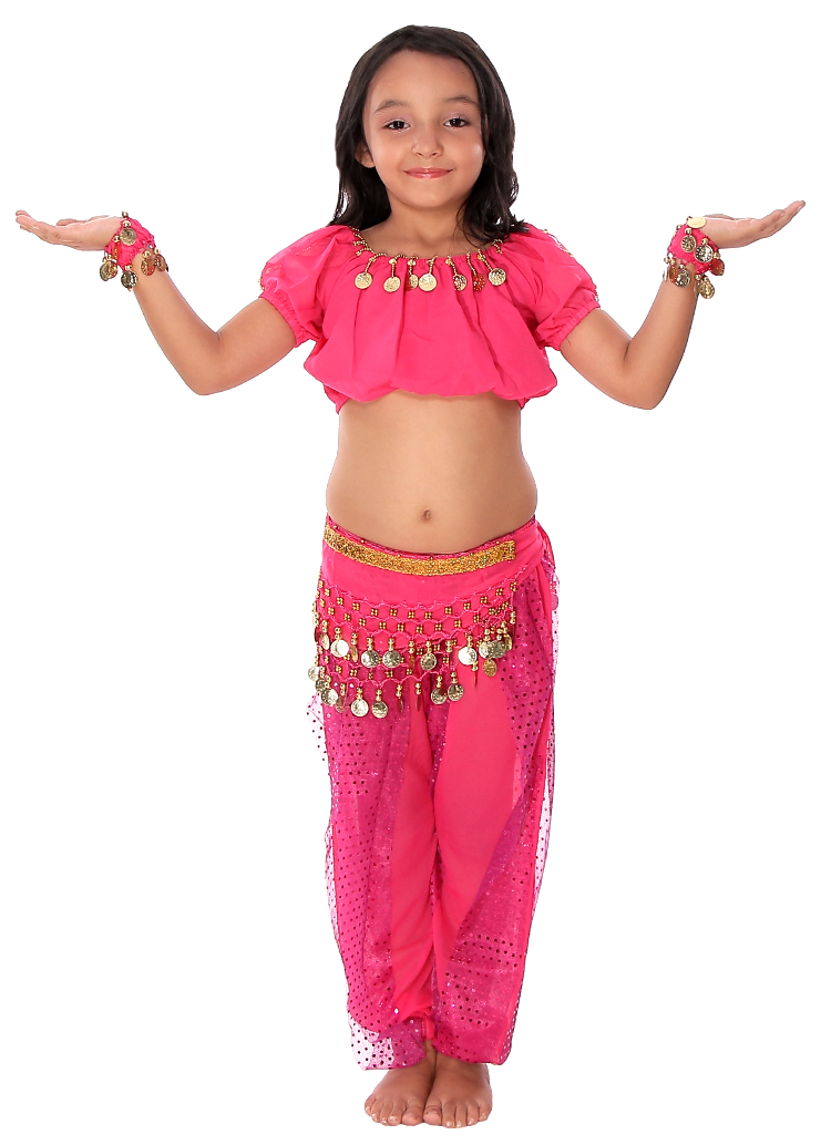 7c79aea51 5-Piece Girls Arabian Princess Genie Costume in Dark Pink Fuchsia
