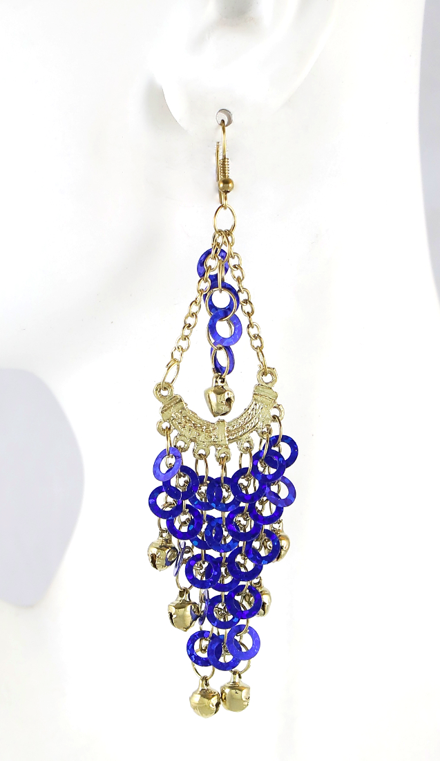Sparkling Sequin Belly Dance Earrings with Bells - SAPPHIRE BLUE /GOLD