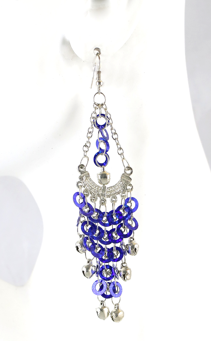 Sparkling Sequin Belly Dance Earrings with Bells - SAPPHIRE BLUE / SILVER