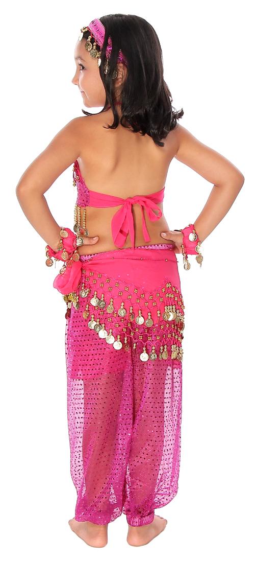 sc 1 st  Bellydance.com & 6-Piece Sparkle u0026 Shine Genie Belly Dancer Kids Costume - FUCHSIA PINK