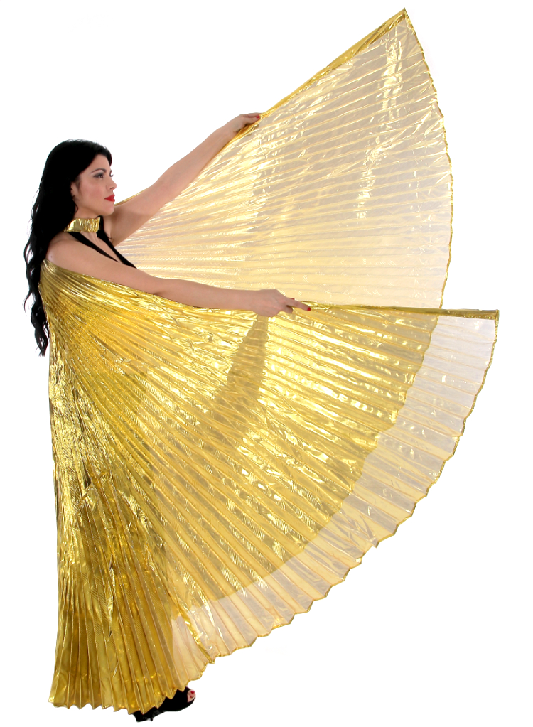 PETITE Closed Back Isis Wings Belly Dance Costume Prop - GOLD