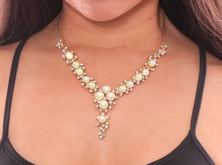 Diamonds and Pearls Rhinestone Costume Necklace
