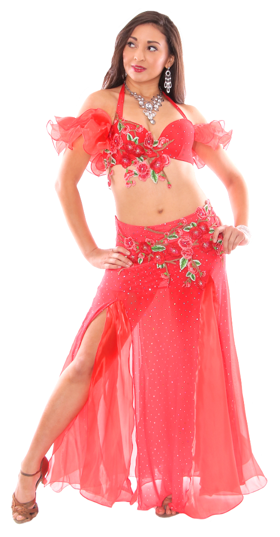 Floral Belly Dance Costume with Rhinestone Accents - RED