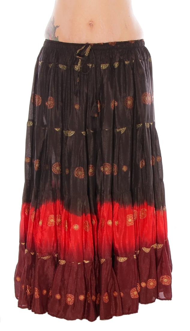 25 Yard Bindi Sari Tribal Gypsy Dance Skirt In Black Red