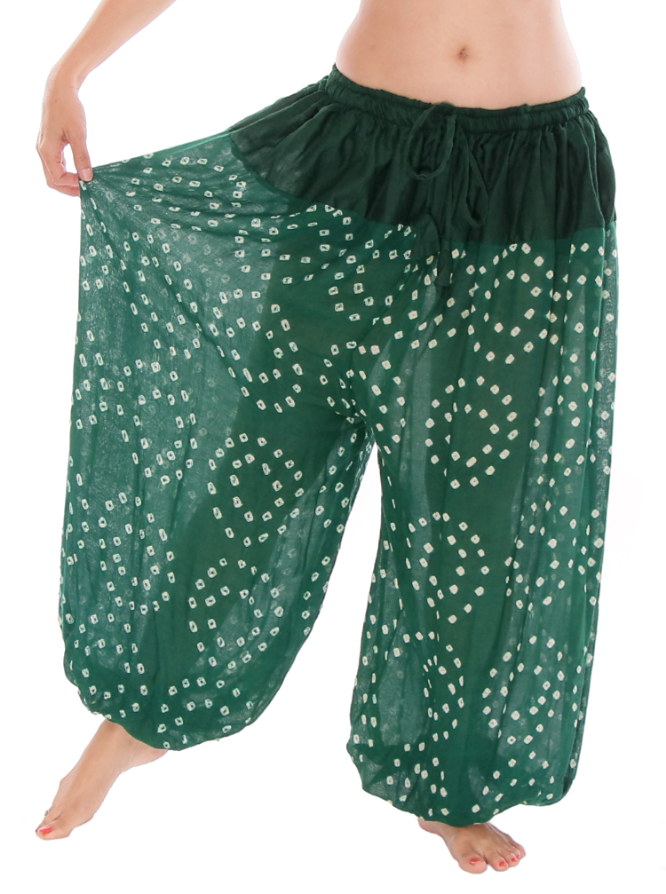factory special sales hot-selling real Jaipur Print Green Cotton Tribal Harem Pants at Bellydance.com