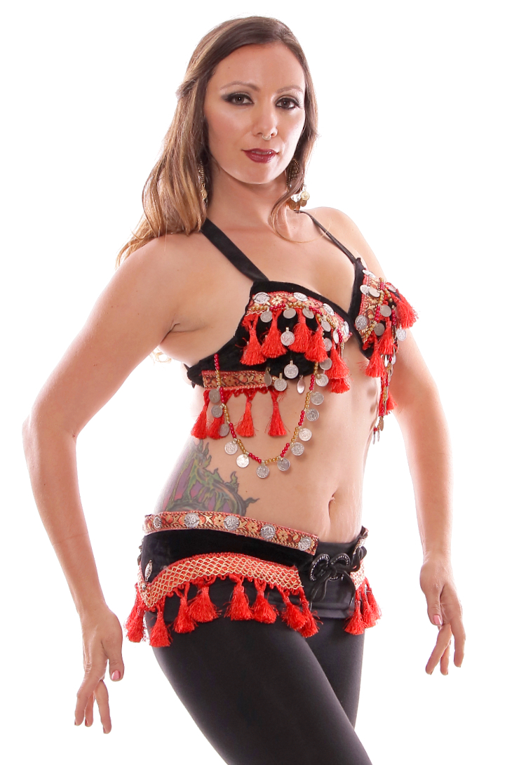 Ashwarya Tribal Bra & Belt Set with Coins & Tassels - BLACK / RED