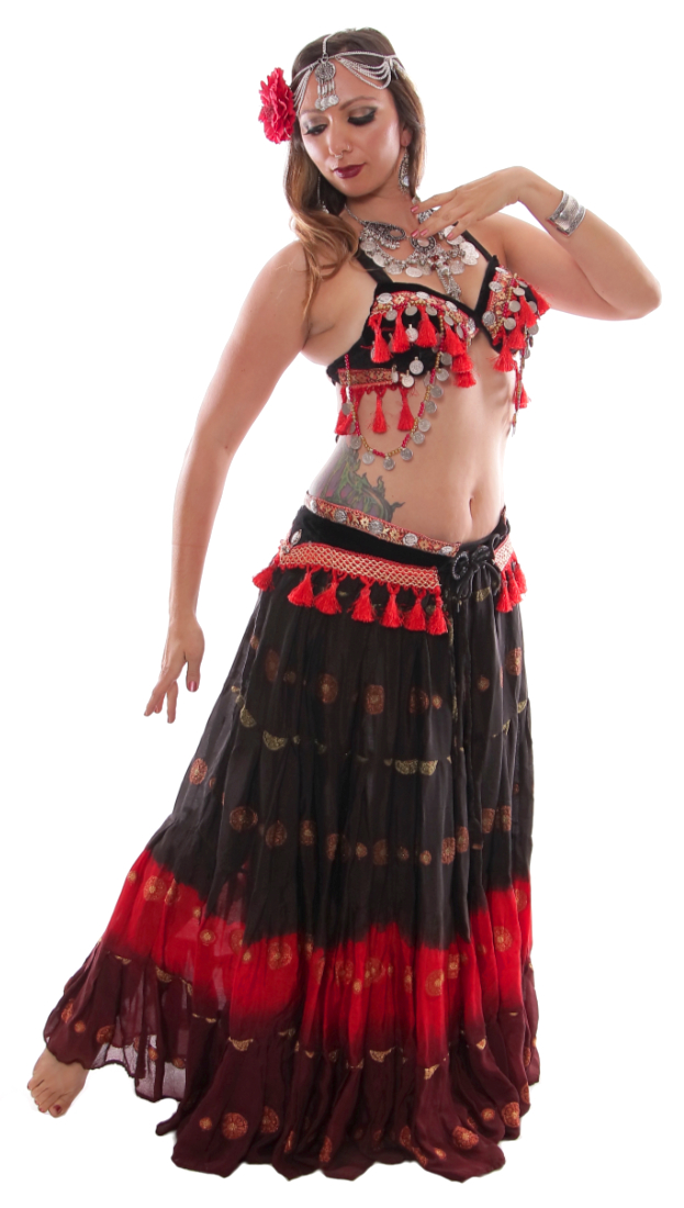 f8ae5aac440ca Ashwarya Tribal Belly Dance Bra   Belt Set with Coins   Tassels - BLACK    RED. Tap to expand. Model  Amber Ray. Add ...