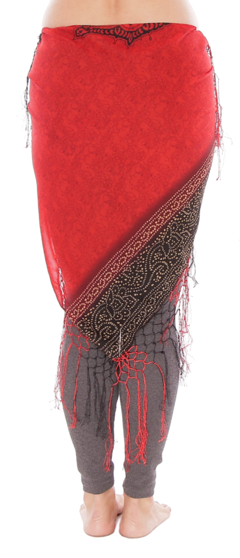 Chiffon Chunri Print Shawl with Crochet Fringe - RED / BLACK