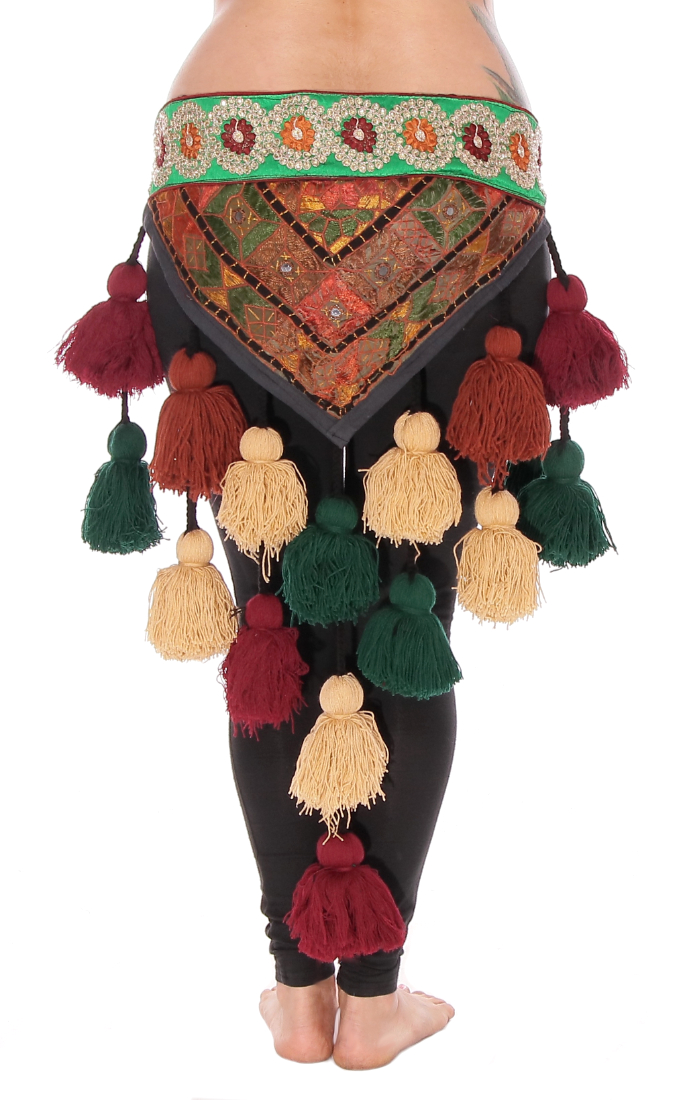 Tribal Tassel Belt with Embroidered Designs & Shisha Mirrors - EARTH TONES