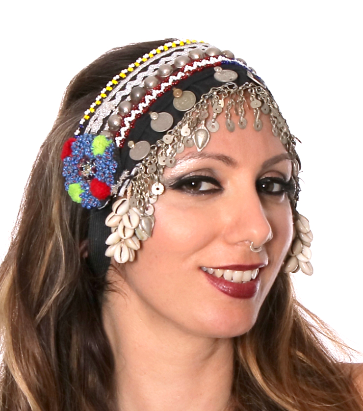 Afghani Tribal Headpiece with Coins & Cowry Shells