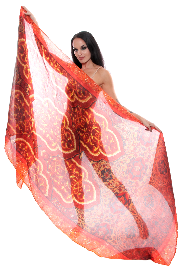 Printed Silk Veil for Belly Dance - ARABESQUE