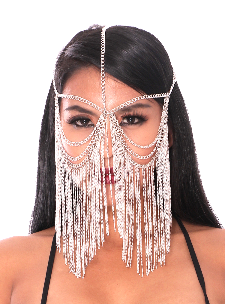 Metal Chain Face Veil with Chain Fringe - SILVER