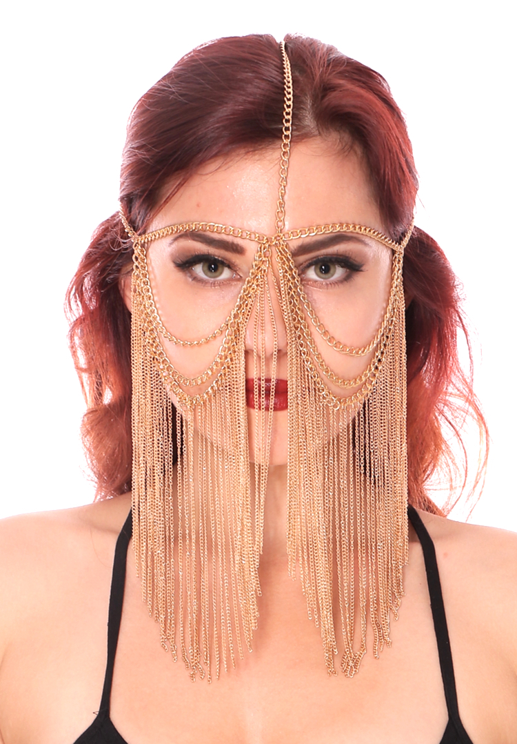 Metal Chain Face Veil with Chain Fringe - GOLD