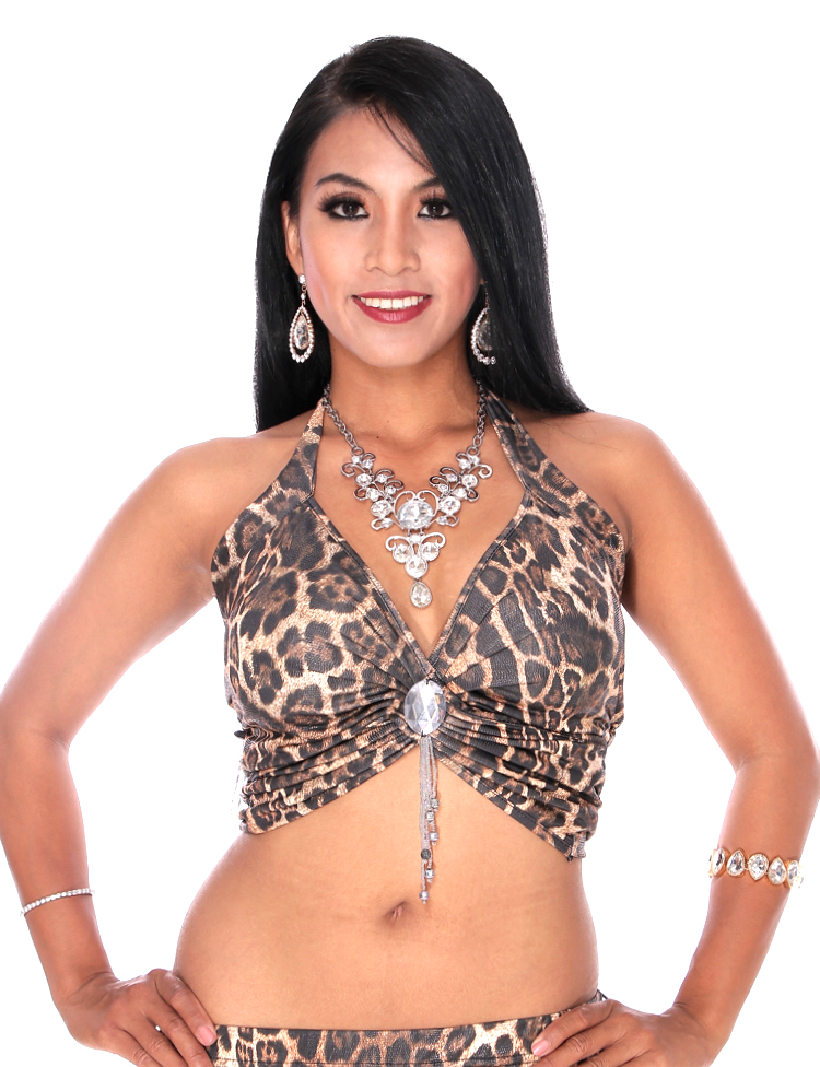 Elegant Metallic Dance Fusion Halter Top with Jewel & Fringe - BROWN LEOPARD
