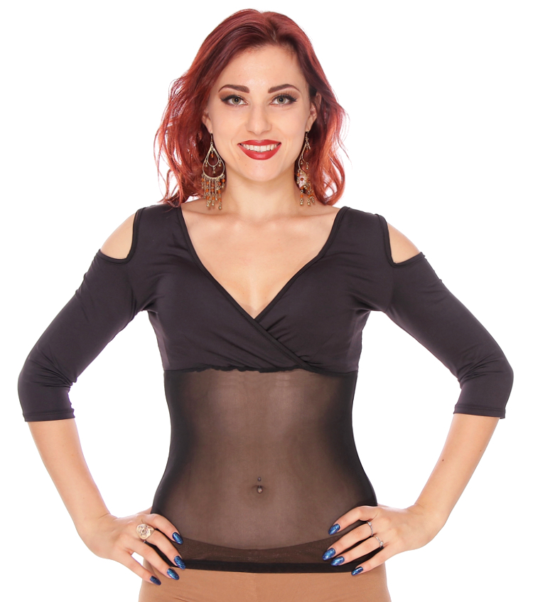 Open Shoulder 3/4 Sleeve Mesh Belly Top - BLACK