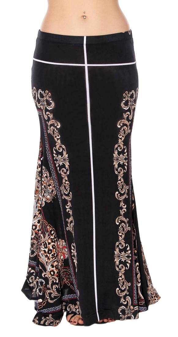 Mermaid Trumpet Skirt In Black Baroque Print At Bellydance Com