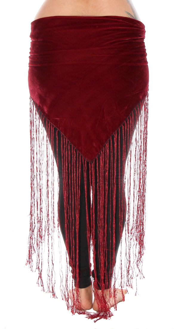 Velvet Tribal Belt Shawl with Long Fringe - BURGUNDY