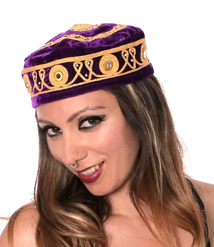 Embroidered Traditional Turkish Style Smoking Hat with Gold Accents - PURPLE PLUM
