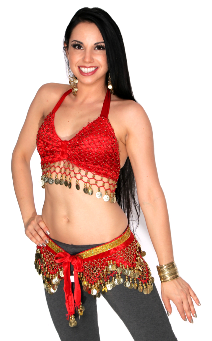 2-Piece Velvet Belly Dance Costume Set - RED / GOLD