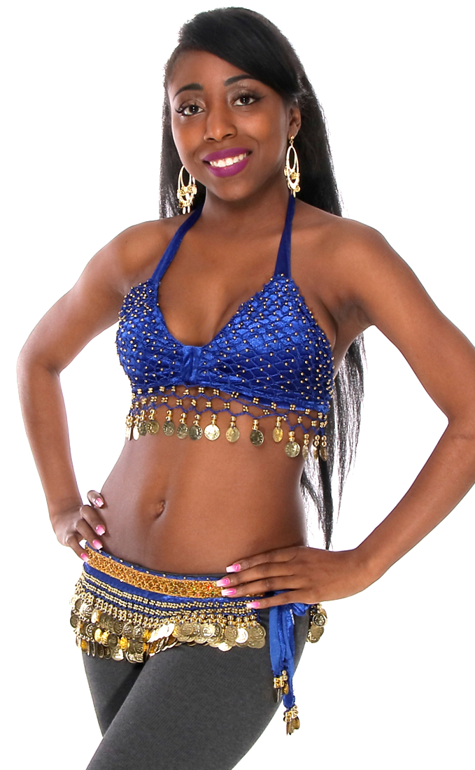 2-Piece Velvet Belly Dance Costume Set - ROYAL BLUE / GOLD