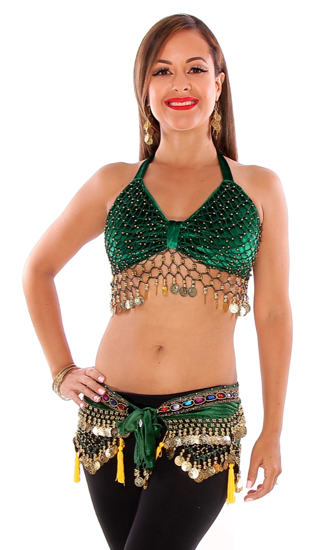 2-Piece Velvet Belly Dance Costume Set - GREEN / GOLD