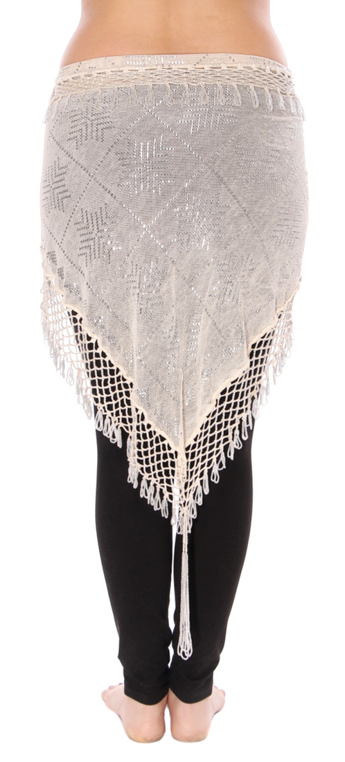 CAIRO COLLECTION: Triangle Assiut Shawl - IVORY / SILVER