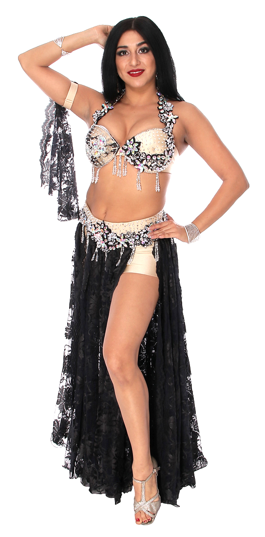 CAIRO COLLECTION: Professional Belly Dance Costume from Egypt - ASSYMETRIC BLACK LACE / SILVER
