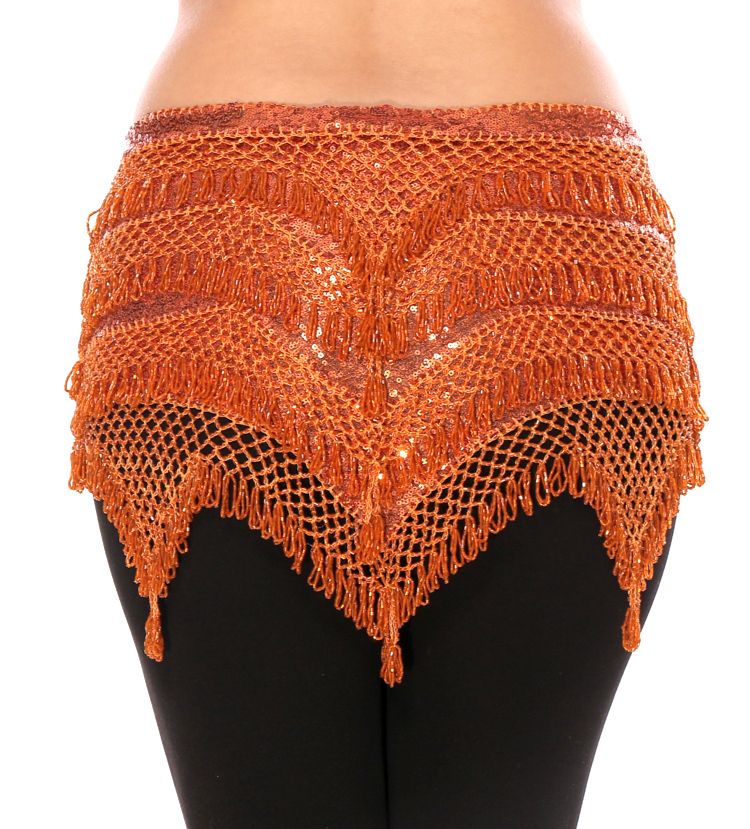 CAIRO COLLECTION: Beaded Pyramid Sequin Hipscarf - ORANGE