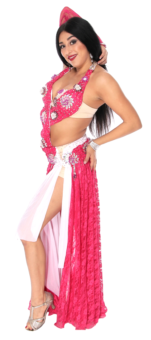 afa1431dad5d CAIRO COLLECTION: Professional Belly Dance Costume Dress from Egypt -  RASPBERRY / PINK WHITE. Tap to expand. Model: Jasmina