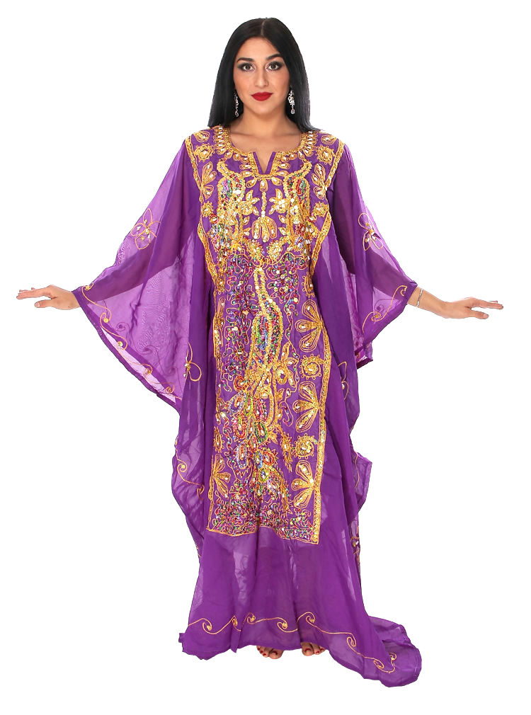 CAIRO COLLECTION: Traditional Khaleeji Thobe Dress Peacock Design - PURPLE