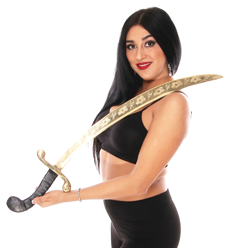 Prop Scimitar Brass Balancing Sword with Faux Leather Bound Handle - GOLD / BLACK